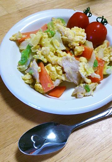 ふわふわ塩こうじ炒り卵の野菜炒め